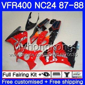 Cuerpo para HONDA RVF400R VFR400 R NC24 V4 RVF400RR VFR400R 87 88 267HM.0 RVF VFR400RR VFR400RR VFR 400R 1987 1988 Kit de carenado Hot Black rojo