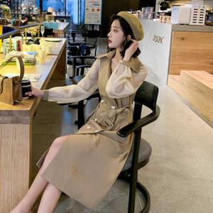 2020 New Autumn Women Fashion Slim Stitching Windbreaker Female Double Breasted Outwear Ladies lapel Jacket Girls Elegant Coat