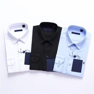 marchio aziendale stampa sottile uomini Uomini Camicie maniche lunghe per il tempo libero sulle spine Medusa uomini neri camicie bianche