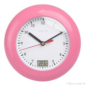 Baldr Thermomètre salle de bains Numérique Horloges Murales affichage de la température Tenture par ventouses analogique étanche douche Montre Horloge