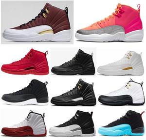 12 12s Игры с мячем Hot Пунш Gym Red WNTR утепленных Баскетбол обувь Мужчины Вишневый Плей такси Мастер Черный нейлон кроссовки с коробкой