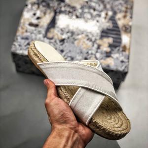 상자에 2020 여성 그랜빌 뮬 디자이너 구두 패션 크림 놓은 슬리퍼 밀짚 고무 유일한 여성의 슬라이드 샌들 야외 신발