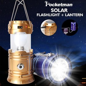 Camping Lamp USB Rechargeable Camping Light Outdoor Tent Light Lantern Solar Power Collapsible Lamp Emergency Torch