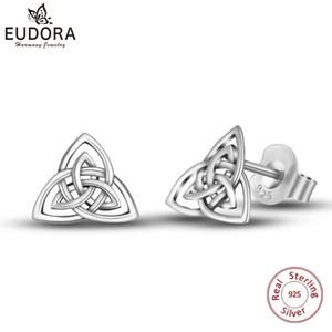 Eudora Gerçek 925 Ayar Gümüş Triquetra Celtics Trinity Knot Damızlık Küpe Moda Kız Güzel Takı Için Üçgen Küpe Cye78 T7190617