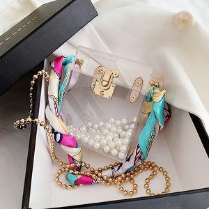 2020 acrylic lock small square Scarf small square bag women's chain scarf single shoulder slanting box bag