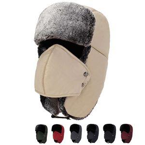 Unisexe Ski Sport d'hiver coupe-vent Cap Trapper Chapeaux avec l'oreille Rabats Ushanka Aviator russe Chapeau d'hiver en plein air chaud Hat 7 couleurs DH0351