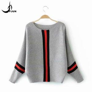 FJUN Mulheres camisola de malha Estilo Casual Pullovers completa Batwing luva Vestuário Feminino Outono-Inverno 2018 Striped Tops Y190929