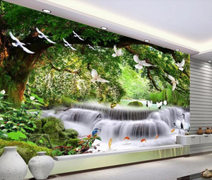 Custom wallpapers 3d mural Waterfall bird fantasy forest landscape landscape background wall
