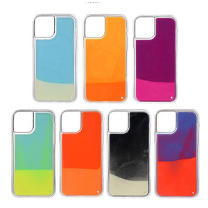 Cas lumineux au néon de sable pour l'iPhone 12 Pro Max xr xs max Glow In Dark Liquid Glitter Quicksand Phone Cover pour huawei