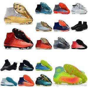 2018 chaussures garçons chaud de football Mercurial Superfly V SX Neymar Ronalro FG CR7 Les crampons de football pour enfants chaussures de football intérieur hommes Botas de futbol Turf