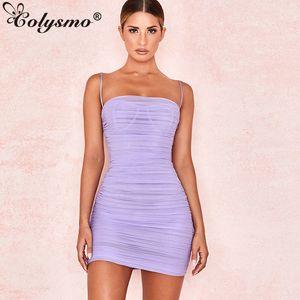 Colysmo Double Layers Summer Dress 2019 Women Spaghetti Straps Mini Dress Sexy Mesh Beach Dresses Woman Party Night Club Dress Y19073101