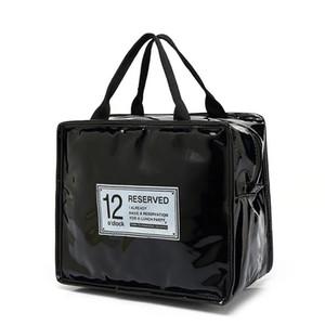 Moda PU Bolsas de almuerzo de cuero de Las Mujeres Portátil Funcional Lona Raya Aislada Termal Picnic Cooler Lunch Box Bag Tote D19010902