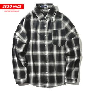 SEGGNICE Ins Ekose gömlek erkekler 2020 Yeni Yaka Uzun Kollu Gevşek Japon Erkek Giyim D544