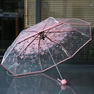 100pcs lot Transparent Clear Umbrella Handle Windproof 3 Fold Umbrella Cherry Blossom Mushroom Apollo Sakura women Girl's Umbrella