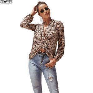 2020 designer hot European and American women's sexy V-neck long-sleeved leopard short shirt jacket lo shi