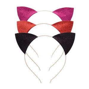Chat oreilles Bandeau bébé Glitter chat oreilles Piques à cheveux Metal Head Hoop fermoirs vacances de soirée de mariage Décoration Props GGA3346-4