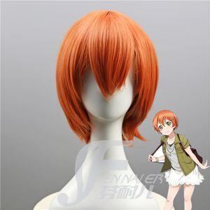 Cabelo Liso Love Live! Céu estrelado orange rosto cabelo curto estilo original cos peruca