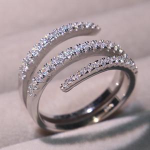 2019 Nueva joyería clásica de la llegada pura 100% 925 de plata esterlina Pave Sapphire Blanco CZ Diamond Mujeres Boda Anillo nupcial para los amantes del regalo