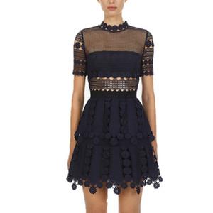 Haute Qualité Bleu évider robe en dentelle 2019 femmes d'été vintage à manches courtes A-ligne de robe Slim Designer Self Portrait