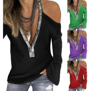 Sexy Paillettes col en V à manches longues à épaules T-Shirt Femme Couleur unie Haut Taille Plus solide T-shirt de couleur Paillettes Décor femmes