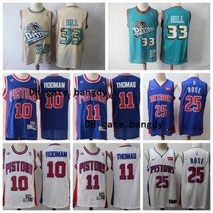 VintageDetroitPistonsnba Grant 33 Hill Isiah 11 Thomas Dennis 10 Rodman Derrick 25 Rose Basketball Shorts Basketball Jersey