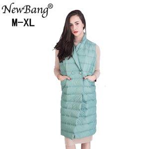 Lungo maglia delle donne NewBang Ultra Light Gilet senza maniche Turn-down Collar Giacca monopetto giubbotto caldo Suit Donne SH190928