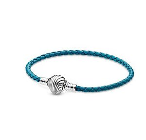 Top quality 2020 New Summer Moments Seashell Clasp Turquoise Braided Leather Bracelets For women Fit 925 Sterling Silver Charms beads DIY