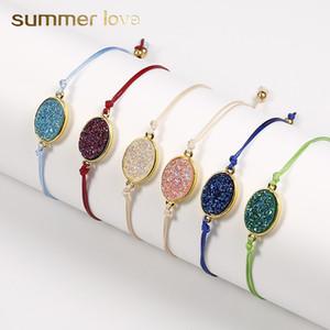 New Fashion Natural Resin Stone Oval Druzy Pendant Bracelet con biglietto d'amore Stringa colorata Braccialetti in treccia per uomo regalo di gioielli da uomo