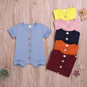 Neugeborene Mädchen-Spielanzug 6 Farben Süßigkeit-Farben-Jungen Botton Jumpsuit Baby-Sommer-Kleidung Baby-Kleidung Kinderkleidung M896