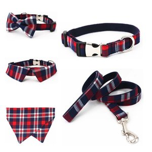 plaid Dog collar pet cat dog shirt collar with bow tie&checked dog bandana scarf,by handmade