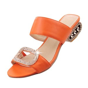 Fashion Plastic punta rotonda di SAGACE Donne Acqua di cristallo della bocca dei pesci Slip-On Piazza Heel estate delle pantofole dei sandali X1218