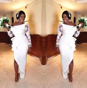 African weg von der Schulter Satin Mermaid Brautkleider 2020 Bloße lange Ärmel SpitzeApplique Split Sweep Zug arabische Hochzeit Brautkleider B