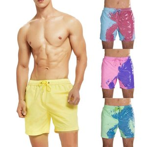 New Color-changing Beach Shorts Men Quick Dry Swimwear Beach Pants Warm Color Discoloration Shorts Swimming Surfing Board