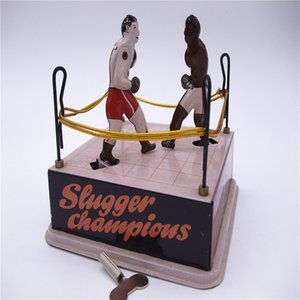 [Funny] Adult Collection Retro Wind up toy Metal Tin arena champions boxer Boxing ring game Mechanical toy Clockwork toy figures