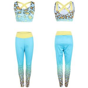 Moda Mulheres Esporte Ginásio Yoga 2 Pcs Colete Sutiã Esportivo Calças Legging Outfit Wear Set