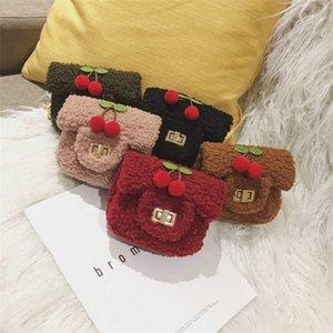 INS estilo simple bolsa de la cadena de dibujos animados accesorios cereza de los niños bolsa de mensajero bolso bandolera linda chica de felpa
