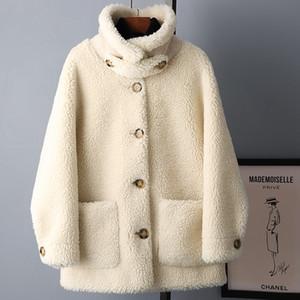 Brasão Outono Inverno Roupas Femininas 2020 coreano Sheep elegante Shearling Wool Jacket Brasão real Fur Suede Lining Abrigo Mujer AN1813