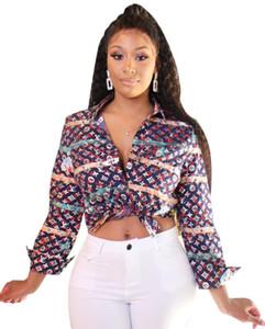 Новый дизайн Женщина печати рубашка мода осень отворот Сыпучие с длинными рукавами блузки и топы вскользь рубашки S-XXL