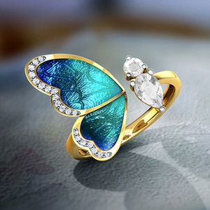 Fantasy Blue Butterfly Wings Gold Open Finger Rings Charms Jewelry Fashion Adjustable Rhinestone Party Rings For Women