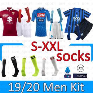 Naples Turin Atlanta men kits socks 19 20 men jersey kit top men suit sock home shirts pants 2019 2020 soccer uniform