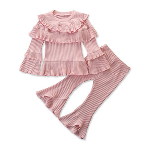 Kids Girls Flare Suit Solid Color Ruffle Tops Irregular Lace Baby Clothes Kids Designer Clothes Girl Elastic Pants Baby Trousers 1-6T 060528