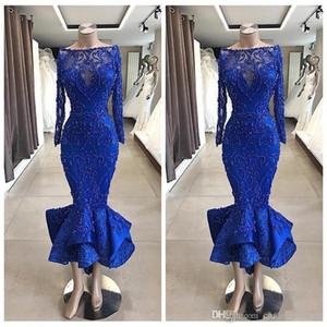 Royal Blue maniche lunghe Slim pizzo Prom Dresses perline 2020 Formal breve lunghezza Tea abiti Special Occasion Cocktail