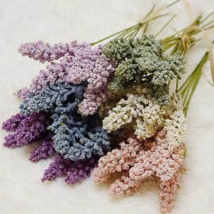 6pcs / paquete de vainilla artificial Mini espuma Berry Espiga de flores artificiales del ramo de decoración de la pared principal Planta Planta Cereales Montón