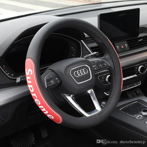 El 100% cuero auténtico coche universal Funda de volante de ruedas los 37CM-38CM del coche-styling volante del deporte Auto Covers antideslizante tendencia de la moda
