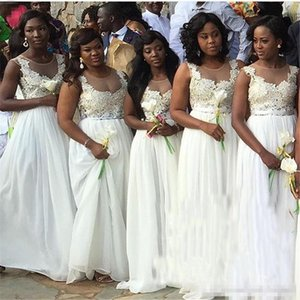 White Bridesmaid Dresses For South African Black Girls New Sleeveless Chiffon Floor Length Wedding Guest Dress Maid of Honor Dresses