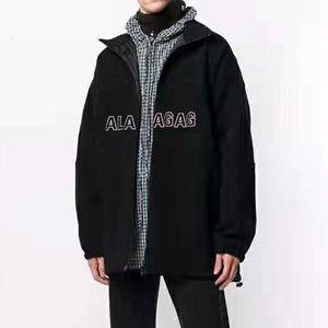 19FW Logo Nakış Siyah Polar Ceket Erkekler Kadınlar Pamuk Ceket Kış Sıcak Splice Coats Moda Sokak Dış Giyim Yüksek Kaliteli HFYMJK276