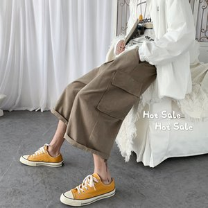 Verano 2020 nueva juventud popular color sólido medio-bajo cintura suelta pantalones recortados moda pantalones casuales salvaje gris/negro
