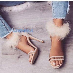 fur women fashion summer gladiator sandals high heeled pvc ladies wedding dress sandals shoes stage female runway cat walk pumps sandals