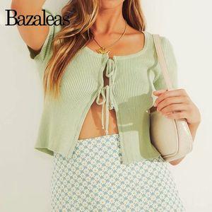 Bazaleas Centro de doble vendaje Tie camiseta de las mujeres de punto de la vendimia camiseta camisa de las mujeres T casual para mujer verde blusa entallada CY200512