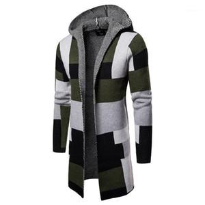 Contraste Couleur Homme Vêtements Plaid imprimé Mens Designer Pulls manches longues Cardigan capuche Hommes Pulls Mode